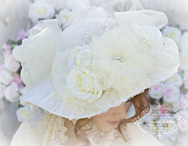 Roses and Pearls Ivory Creme Victorian Bridal Hat