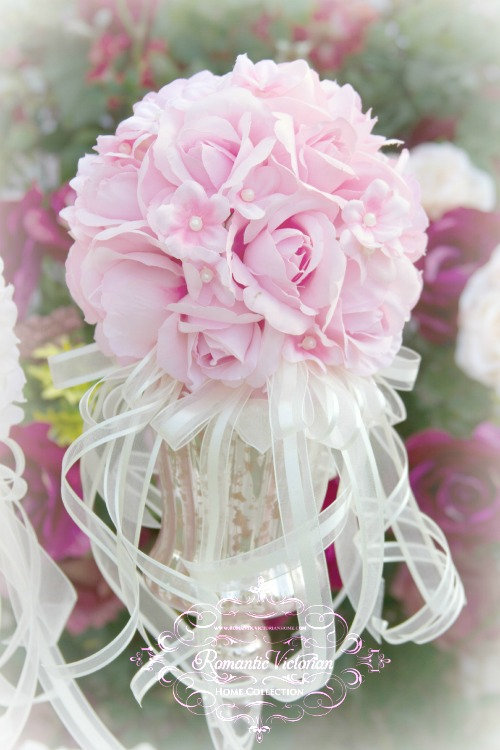 Image 0 of Pink Roses and Pearls Kissing Ball