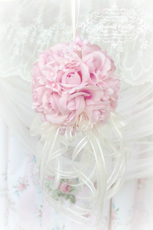 Image 3 of Pink Roses and Pearls Kissing Ball