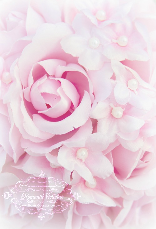 Image 4 of Pink Roses and Pearls Kissing Ball