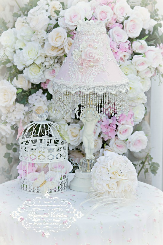 Image 2 of Roses and Pearls Medium Lamp Shade (shade only)