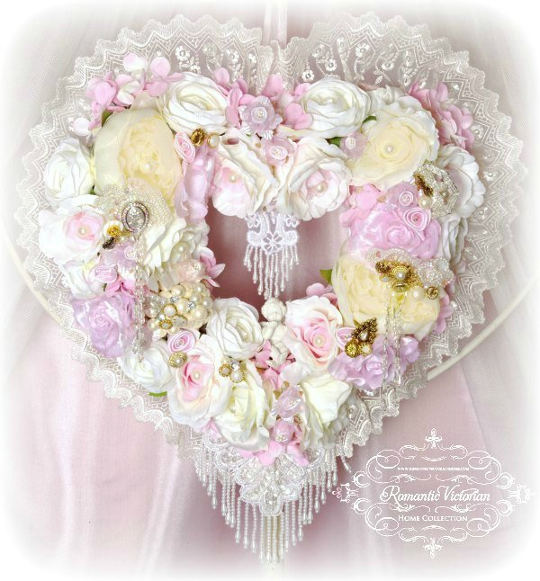 Image 0 of Pink Cherub Heart Wreath