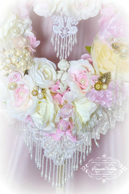 Image 1 of Pink Cherub Heart Wreath