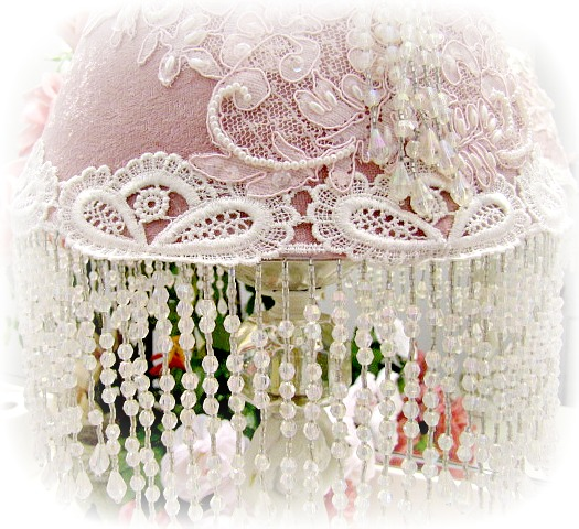 Image 4 of Medium Antique Pink Silk Velvet Shade