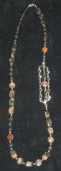 Lake Superior Agate Beaded Necklace sterling silver beads