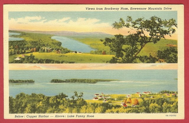 Copper Harbor Mi Brockway Fanny Hoe Linen Postcard BJ's
