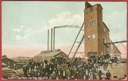 Bay City Auburn Mi Coal Mine Miners Postcard BJs
