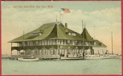 Bay City Mi Boat Club Boats Postcard BJs