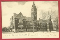 Coldwater MI Postcard High School UDB BJ's
