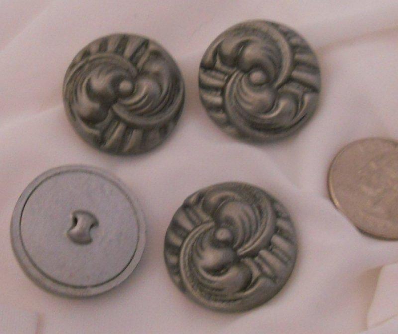 4 Grey Art Deco Design Celluloid Buttons BJs