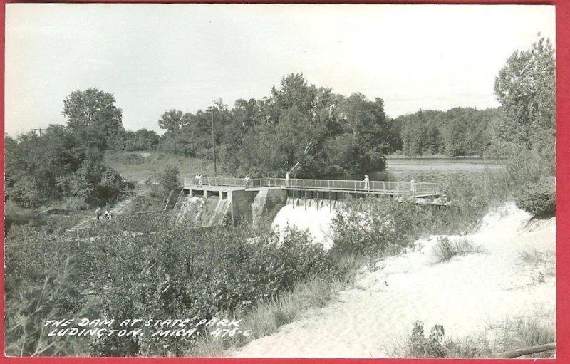 Ludington Mi Dam State Park Michigan RPPC Postcard