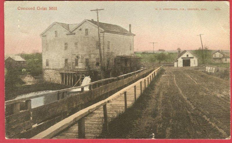 Concord Mi Grist Mill 1909 Postcard BJs