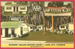 Lake City Florida Fl  Linen Postcard Dickens Motor Court BJ's