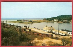 Elberta Frankfort Michigan Coast Guard Station Harbor View Postcard