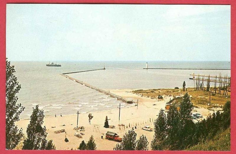 Elberta Michigan Breakwater Beach Truck Cars Harbor View Postcard