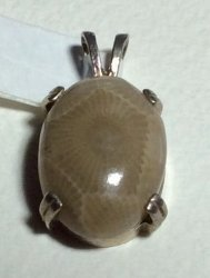 Petoskey Stone Sterling Silver Oval Pendant 18 x 13 mm
