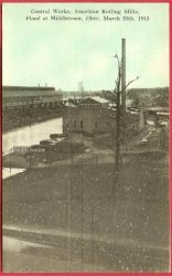 Middletown Ohio Postcard Flood 1913 American Rolling Central Works Buidling