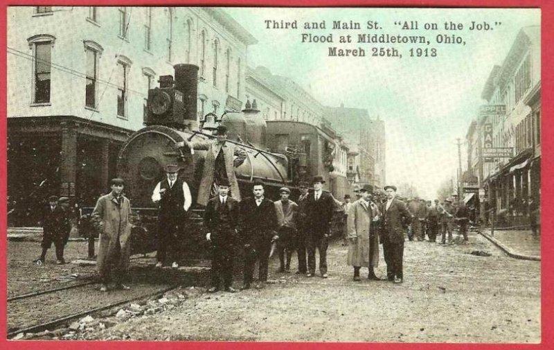 Middletown Ohio Postcard Flood 1913 Third Main RR Engine Street Men