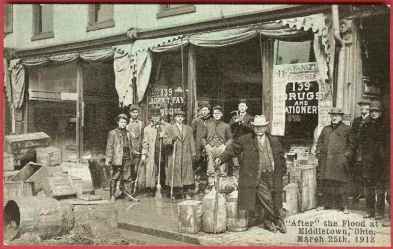 Middletown Ohio Postcard Flood 1913 Drug Store Gentlemen John T Fay Druggist
