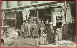 Middletown Ohio Postcard Flood 1913 Drug Store Gentlemen John T Fay Druggist