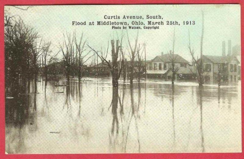 Middletown Ohio Postcard Flood 1913 Curtis Avenue Watson Photo Homes
