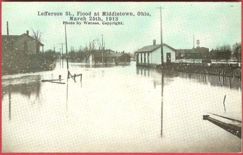 Middletown Ohio Postcard Flood 1913 Lefferson Street Watson Photo