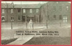 Middletown Ohio Postcard Flood 1913 American Rolling Mill Central Works Entrance