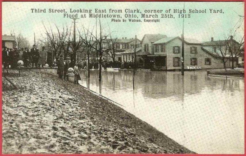 Middletown Ohio Postcard Flood 1913 Third St East Clark High School Yard People