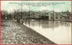 Middletown Ohio Postcard Flood 1913 Third St East Clark High School Yard People