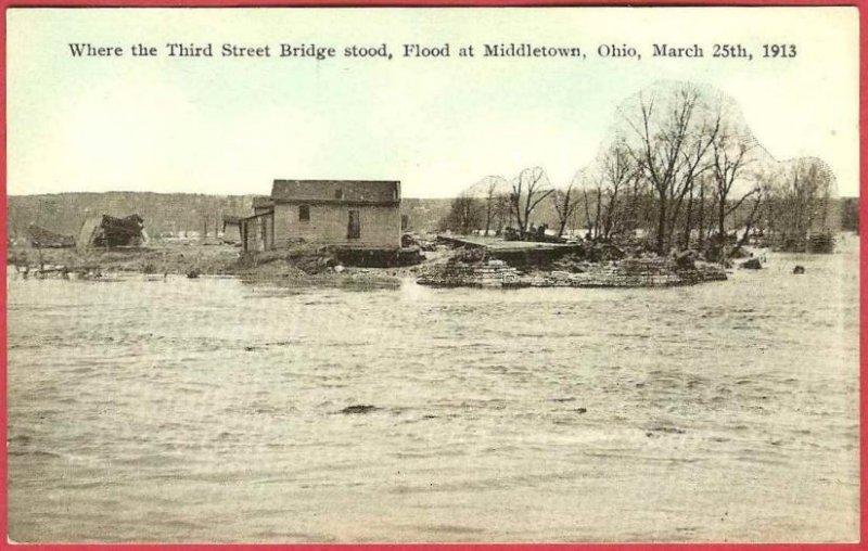 Middletown Ohio Postcard Flood 1913 Third Street Bridge