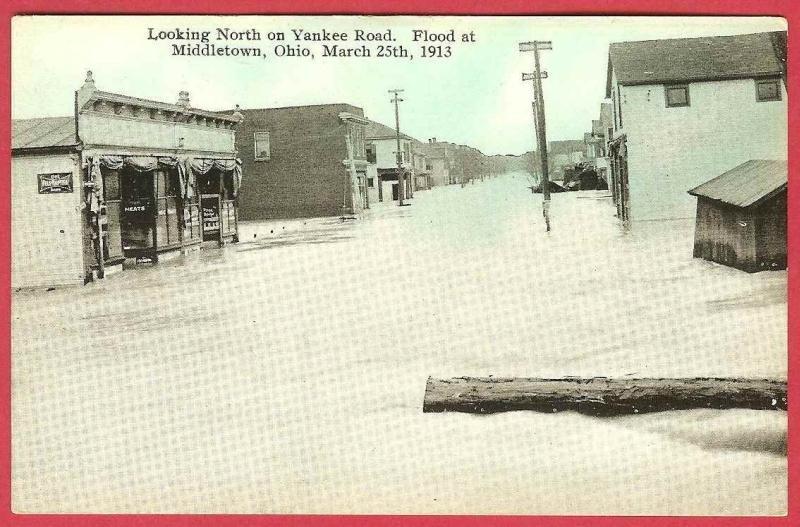 Middletown Ohio Postcard Flood 1913 Yankee Road Stores