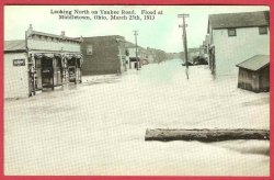 Middletown Ohio Postcard Flood 1913 Yankee Road Stores