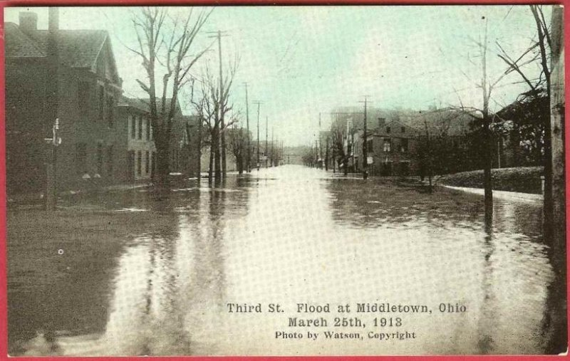 Middletown Ohio Postcard Flood 1913 Third Street Homes Watson