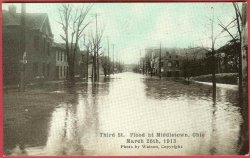 Middletown Ohio Postcard Flood 1913 Third Street Homes Watson