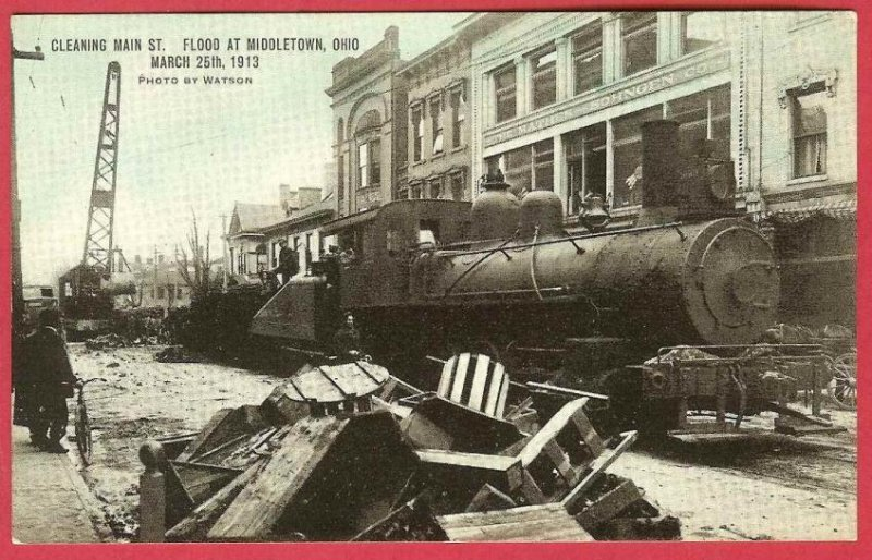 Middletown Ohio Postcard Flood 1913 RR Train Engine Stores