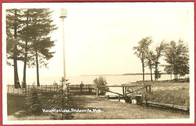 Houghton Lake Prudenville Mi Wooden bridge RPPC