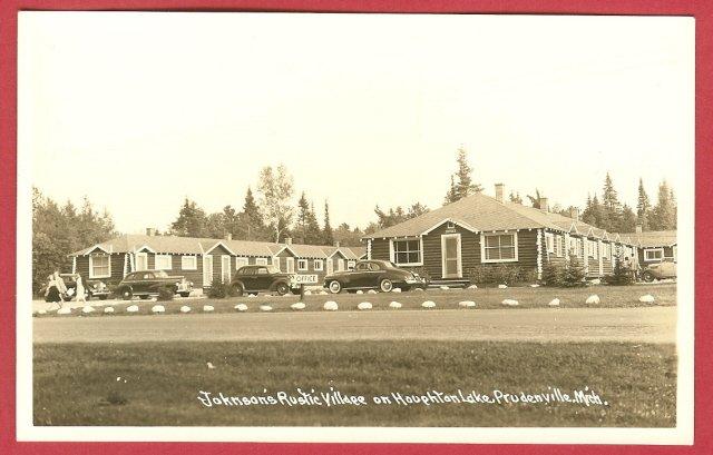 Image 0 of Prudenville Mi Postcard Houghton Lake Johnson Cars RPPC BJs