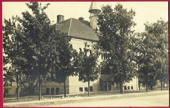 Manton Mi Postcard Public School Michigan RPPC