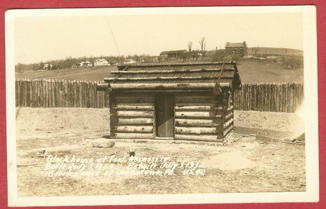 Uniontown Pa Postcard Ft Necessity Blockhouse RPPC BJs