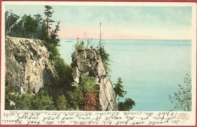Marquette MI Postcard Pulpit Rock Presque Isle UDB BJ's