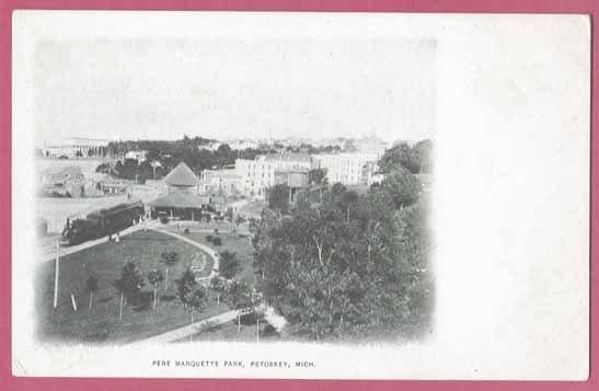 Image 0 of Petoskey MI Postcard Pere Marquette Park Depot Train UDB BJ's