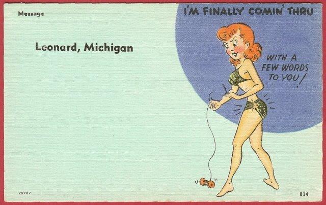 Comic, postcard, lady, Leonard, Michigan
