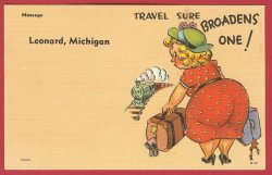 Leonard Mi Postcard Comic Lady Train Linen postcard BJ's 2