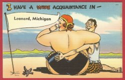 Leonard Mi Postcard Comic Lady Linen postcard BJ's 3