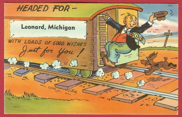 Leonard, Michigan, postcard, Man, RR, Dog