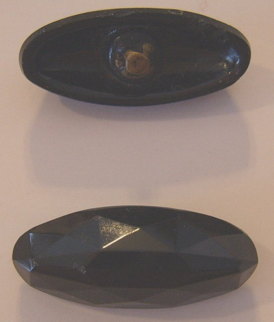 2 spindle black glass faceted buttons button 4 way BJs