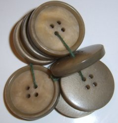 Lot of 8 Tan Plastic buttons