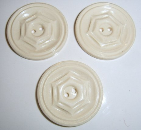 Lot of 3 White Plastic buttons