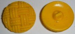 Bright Yellow Glass basket weave button BJs Pretty