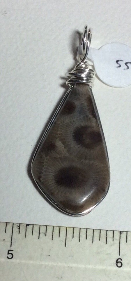 Image 1 of  Petoskey Stone Pendant sterling silver  Fossil Michigan